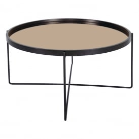 001ANZ002 Anzio Large Table in Satin Black with Metal Legs and Rose Gold Mirrored Top
