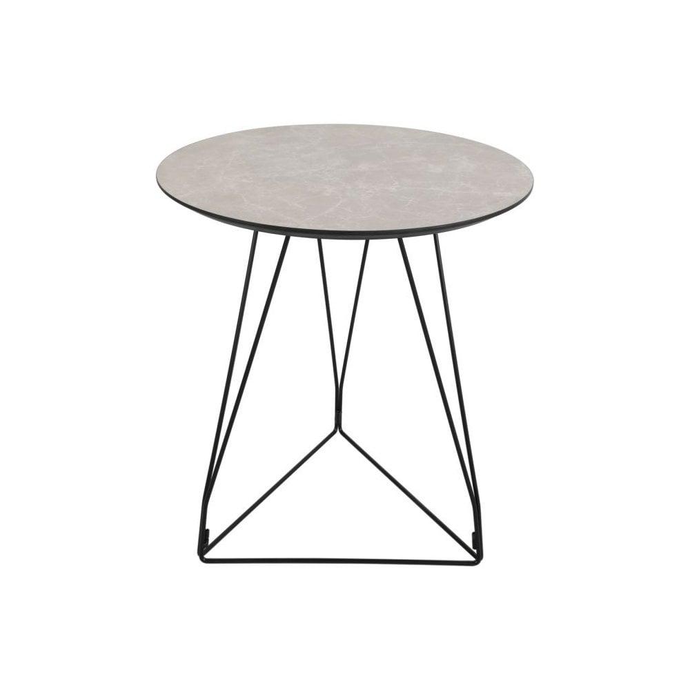 Dar Homewares 001fik002 Fiksdale Side Table In Light Grey Marble Effect Veneer With Black Metal Legs Castlegate Lights