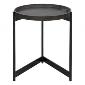 001TOM001 Tomal Round Tray Table With Dark Oak Veneer Effect Finish And Black Legs