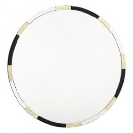 002GAD80 Gadany Round Decorative Mirror With Black And Gold Leaf Detailing