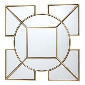002LYS60 Lyshia Decorative Art Deco Square Mirror with Gold Foil Effect