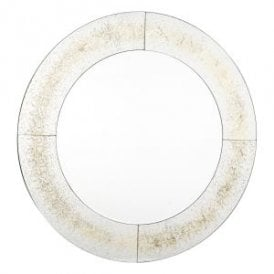 002OPH100 Ophidian Round Decorative Mirror With Gold Leaf Effect Edging