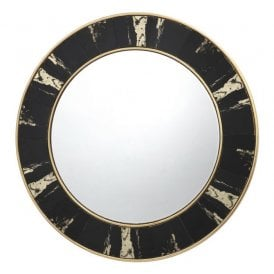 002SID80 Sidone Round Mirror with Black and Gold Leaf Foil Detail