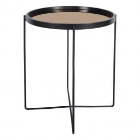 Anzio Small Round Table With Rose Gold Mirrored Table Top And Black Metal Legs