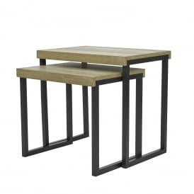 Aston Nest Of 2 Tables in Oak Wood Effect And Black Metal Legs