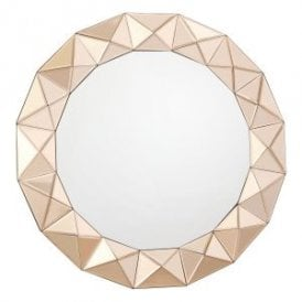 Cetara Round Decorative Mirror With Sculptured Rose Gold Leaf Mirrored Edging