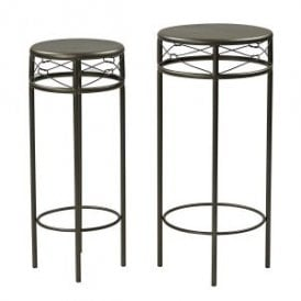 Enzo Set of Two Nest Plant Stands in Black Metal Finish