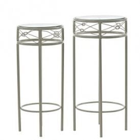 Enzo Set of Two Nest Plant Stands in Cream Metal with Glass Top