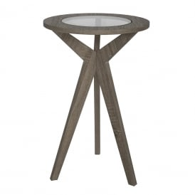 Erin Plant Stand In Oak Veneer Finish With Glass Top Insert