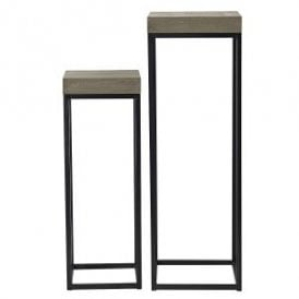 Fabio Set of Two Nest Plant Stands with Oak Style Veneer Top and Black Frame Legs