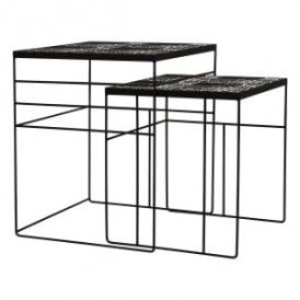 Focsami Nest Of 2 Tables in Black Finish With Grey and White Mediterranean Tile Top