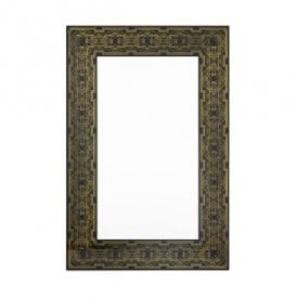 Jugend Rectangular Decorative Mirror With Art Deco Edging In Black And Gold Finish