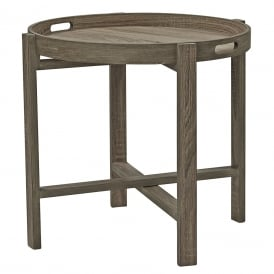 Piro Round Tray Table With Oak Veneer Effect Finish