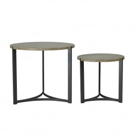 Set of 2 Divizes Nested Round Tables in Oak Wood Effect And Black Metal Base