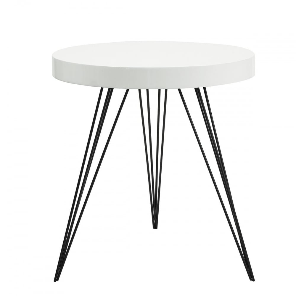 Dar Homewares Sibford Round Table With White Table Top And Black
