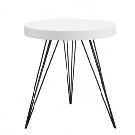Sibford Round Table With White Table Top And Black Metal Legs
