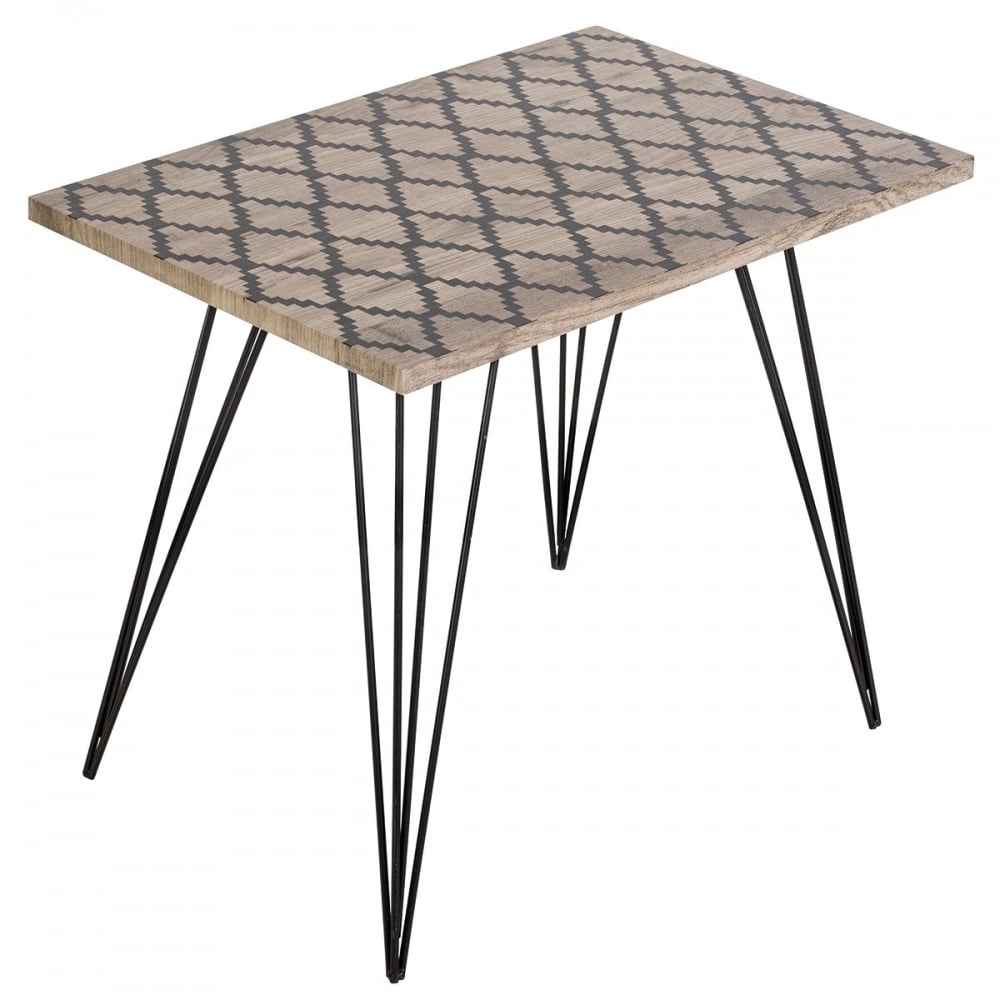 Solomon Table With Washed Out Wood Finish Top And Black Legs