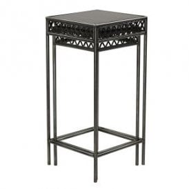 Taj Set of Two Nest Plant Stands in Black Metal and Grey Antique Wood Finish