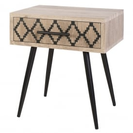 Tewkesbury Side Table In Washed Out Wood Finish With Printed Drawer