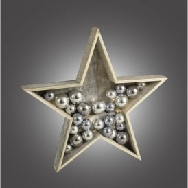 006X04001 Battery Operated LED Wooden Star with Silver Baubles