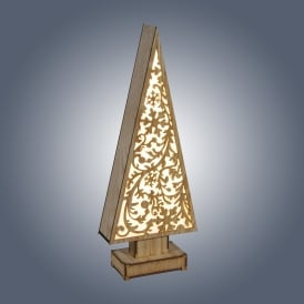 006X040013 LED Wooden Tree with Snowflakes Design