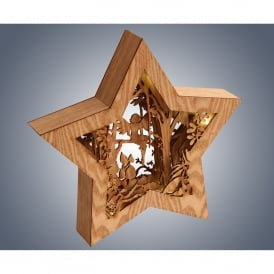 006X040017 LED Wooden Star with Fairy Diorama
