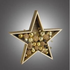 006X04002 Battery Operated LED Wooden Star with Gold and Copper Baubles