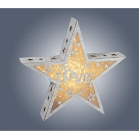 006X04006 Wooden Star with Love Design and integrated Warm White LED