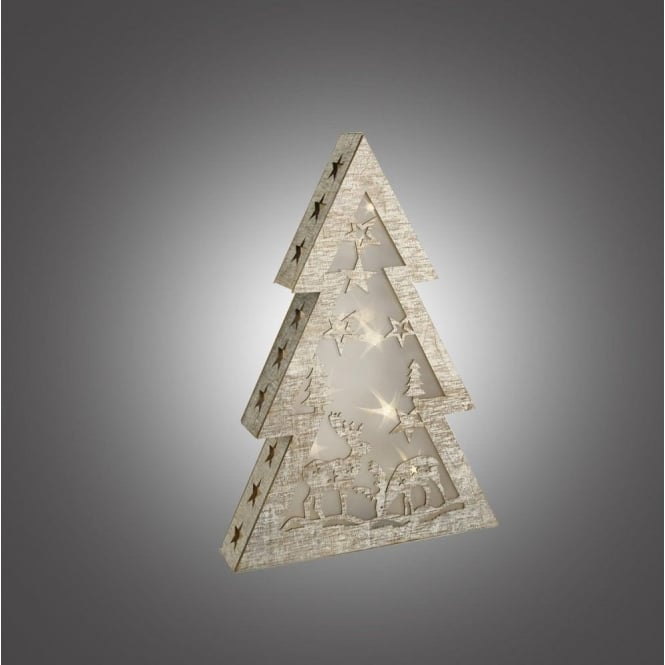 Christmas Tree Led.Dar Lighting 006x04007 Battery Operated Led Wooden Christmas Tree With Star Effect