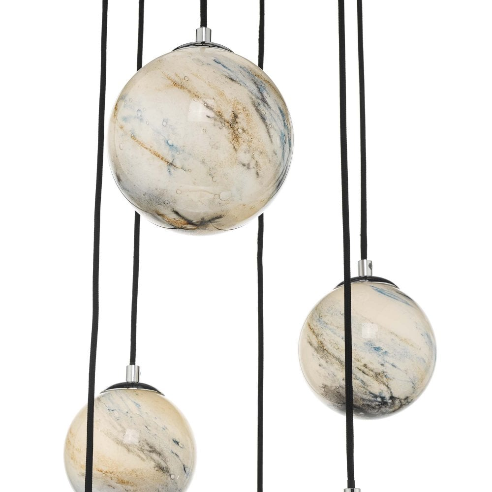 Dar Lighting 2020 21 Mik0650 Mikara 6 Light Cluster Ceiling Pendant In Polished Chrome And Marble Effect Finish Castlegate Lights