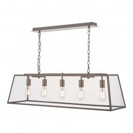 ACA0564 Academy 5 Light Ceiling Pendant in Antique Copper Finish with Clear Glass