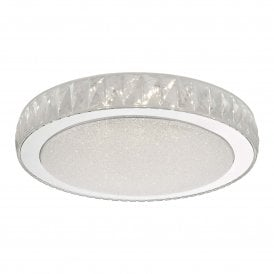 AKE5008 Akelia 24w Integrated LED Large Flush Ceiling Fitting in Stainless Steel and High Quality Acrylic Finish