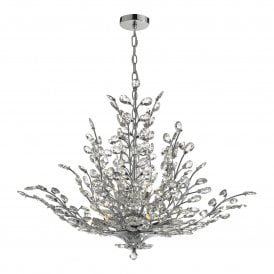 COR1350 Cordelia 9 Light Crystal Chandelier in Polished Chrome Finish