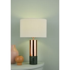 DIG4264 Digby Single Light Table Lamp With Copper And Green Marble Finish Base Complete With A White Linen Shade