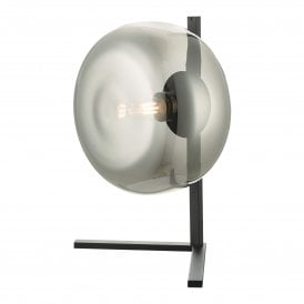ERL4110 Erla Single Table Lamp in Matt Black Finish with Smoked Glass
