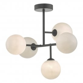 EUA5422 Euan 5 Light Semi Flush Ceiling Fitting In Black Finish With opal Glass Shades