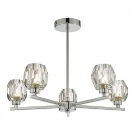IDI5450 Idina 5 Light Semi Flush Ceiling Fitting in Polished Chrome Finish