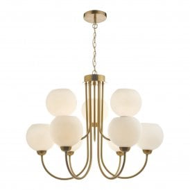 IND1335 Indra 9 Light Ceiling Fitting in Brass Finish with Opal Glass Shades