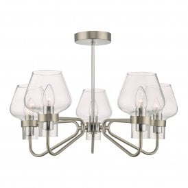 KET5446 Keta 5 Light Semi Flush Ceiling Fitting in Satin Chrome Finish Complete with Glass Shades