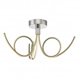KOH5335 Kohlson 3 Light LED Semi Flush Ceiling Fitting In Polished Chrome And Brushed Gold Finish