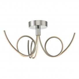 KOH5346 Kohlson 3 Light Semi Flush Ceiling Fitting In Polished Chrome And Satin Nickel Finish