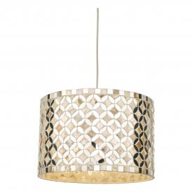 ACQ6568 Acquila Easy Fit Large Pendant Shade In Natural Shell And Mirror Finish