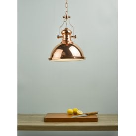 ARO0164 Arona Single Light Ceiling Pendant in Copper Finish with Glass Diffuser