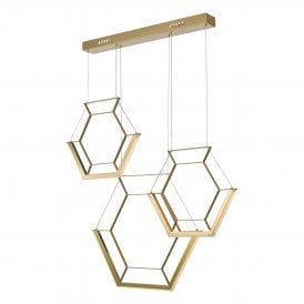 HEX0335 Hexagon LED Bar Ceiling Pendant in Gold Finish
