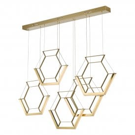 HEX0535 Hexagon LED Ceiling Pendant in Gold Finish