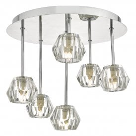 LOS6450 Loshini 6 Light Semi Flush Ceiling Fitting In Polished Chrome And Clear Glass Shades