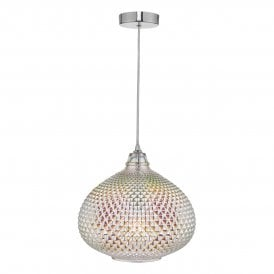 ROI0155 Roisin Single Light Ceiling Pendant In Polished Chrome Finish with Textured Oil Effect Glass Shade
