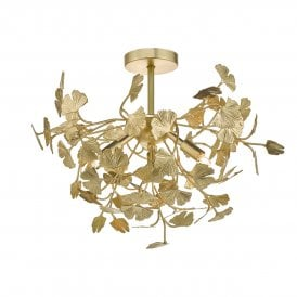 YAD0435 Yadira 4 Light Semi Flush Ceiling Fitting In Gold Leaf Finish