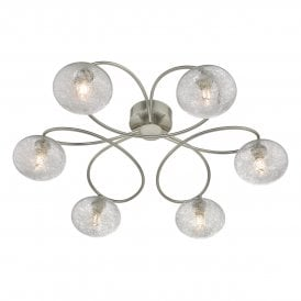 LEY6446 Leysha 6 Light Semi Flush Ceiling Fitting In Satin Nickel Finish With Sugar String Glass Shades