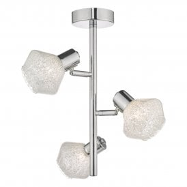 MEE5350 Meela 3 Light Semi Flush Ceiling Fitting In Polished Chrome And Crushed Crystal Glass Shades